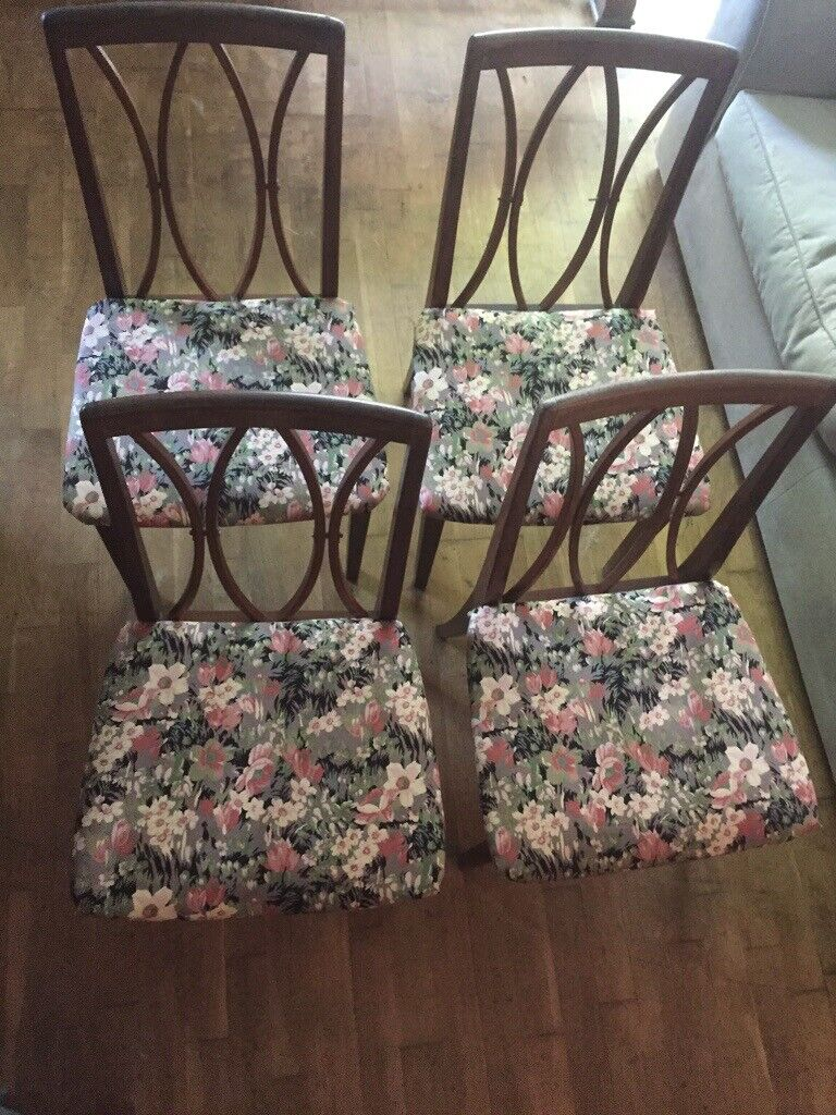 G Plan Dining Chairs X 4 With Liberty Of London Classic