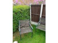 3 cast iron garden chairs and table