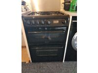 Hotpoint gas cooker black double oven.