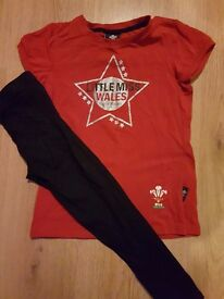 LITTLE MISS WALES TOP AND LEGGINGS 7-8 YEARS £5