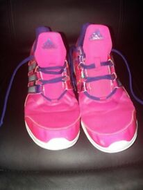 Girls Pink and purple Adidas hyperfast trainers size 5.5