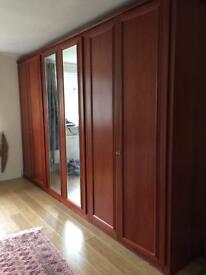 6 Dark Brown mirrored wardrobes wooden opening large bedroom quality classic style key opening