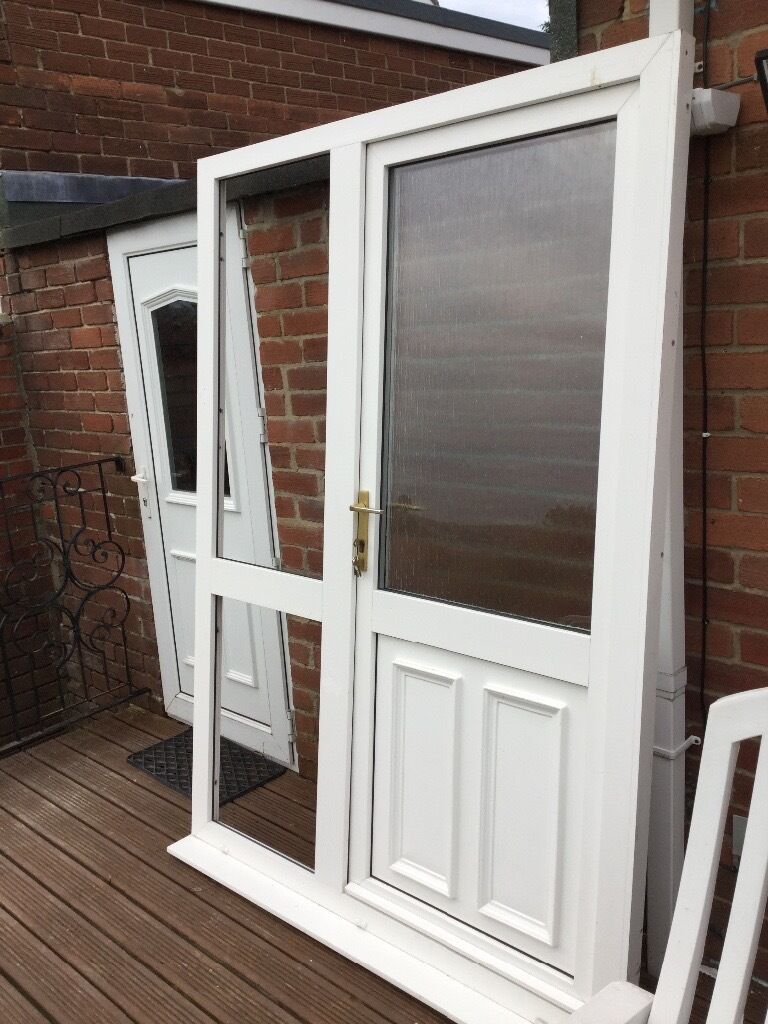 Upvc Front Door And Fixed Side Panel In Excellent Condition With