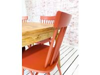 Extending Modern Mid-Century Rustic Folding Dining Table and Painted Spindle Chair Dining Set