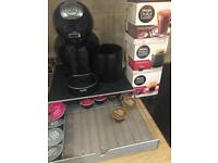 Dolce gusto coffee machine, pod tray & pods
