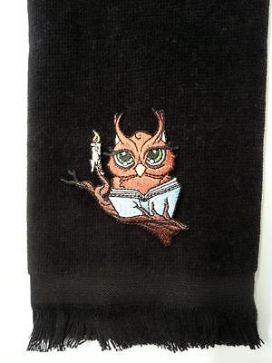 owl fingertip bath TOWEL FREE SHIP black applique halloween book candle reading ()