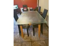 Frosted Glass Dining Table & 4 Chairs
