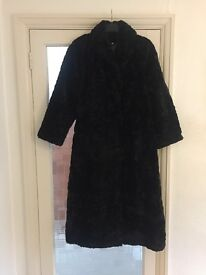 Black faux fur long coat Debenhams