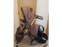 Baby Stokke pushchair/buggy with car seats