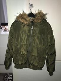 Khaki puffer faux fur hooded jacket