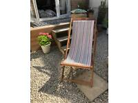 Striped garden wooden deck chair