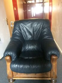 Pair of Leather & Wood Armchairs