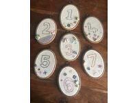 7 embroidered wedding table numbers