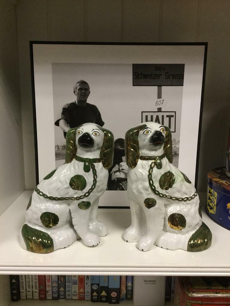Rare pair of vintage Ceramic Dogs display home decoration retro SDHC