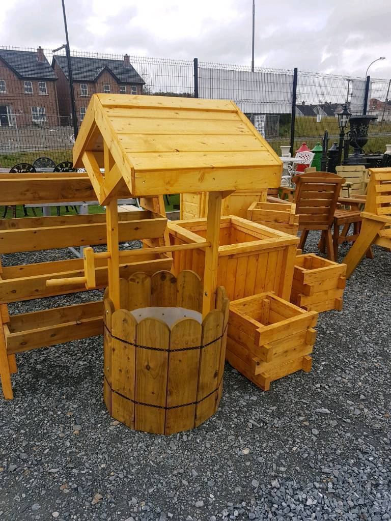 Wooden garden flower pots and planters windmills furniture and ...