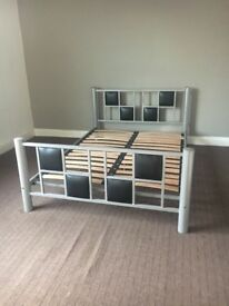 Metal bed frame and mattress