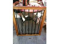 Hand made pine and wrought-iron safety gate