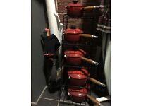 10 piece Le Creuset Pot Set (red/orange)
