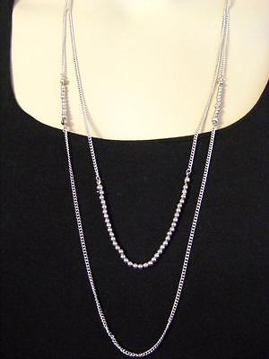 $18 Nordstrom Silvertone Beaded 2-Strand Double Layering Necklace 30-34