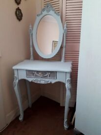Beautiful Dressing Table, Duck Egg Blue, Dry-Brushed with Grey