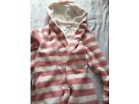 Matalan pink white stripe dressing gown