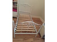 White Metal Frame Girls Single Bed Very Good Condition