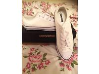 White converse trainers size 8