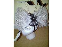 Large black and white fascinator
