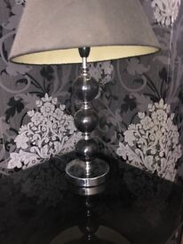Curtains, lamp , glass tv stand , vase