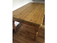 Very strong solid pine farmhouse dining table, 6ft long, great condition, 7ft available too