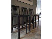 4 Dark Wood Mahogany Bar Stools/ Chairs