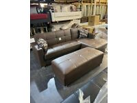 Brand new leather corner sofa bed in stock