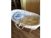 Moses basket, stand, mattress and bedding