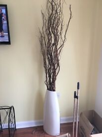 Large vase with contorted willow