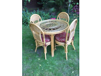 Cane Round Table & Four Chairs with Cusions Patio Or Conservatory Set