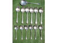 6 Priestly/Moore Valiant Plate A1 EPNS Dessert Spoons and 6 Craftsmen EPNS Fruit Spoons+Server Spoon
