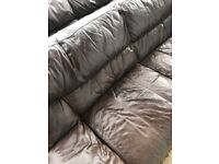 Sofa 3 seater brown leather from DFS used but very nice