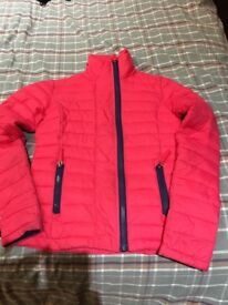"Pink/Coral Superdry coat. Excellent condon. XS. ""Fuji double zip""."