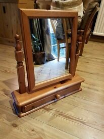 **£25** Solid Pine Dressing Table Mirror with Drawer