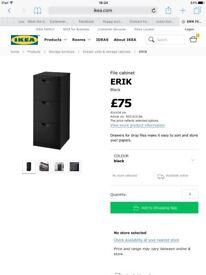 ERIK FILLING CABINET BLACK NEW BOXED COST £75