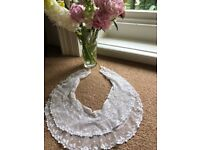 Vintage beautiful elegant white wedding dress double lace collar - very old
