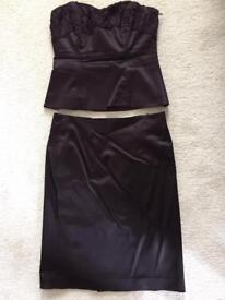 Coast deep purple Satin skirt and top with detachable straps, size 12 and matching wrap
