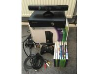 Xbox 360 Black with pad Kinect sensor box and games