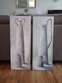 Pair of Tomasyn de Winter prints mounted on blocks - Tall Vase and Tall Can