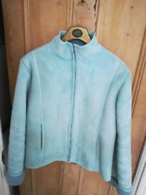 Ladies Faux suede blue jacket size 14