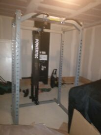 Powertec power rack + lat pulley attachment + gymratz commercial bench