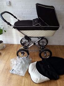 Silver Cross Sleepover Elegance cream and black pram pushchair *can post*