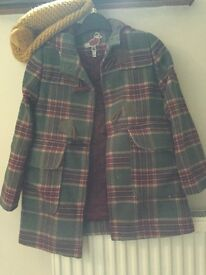Joules checked girls duffle coat