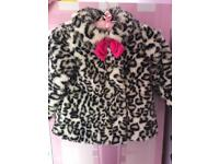 Girls faux fur coat and matching hat 3-4yrs