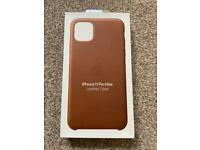 Genuine Apple iPhone 11 Pro Max Leather Case Saddle Brown - Brand New